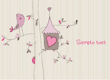 Card with Bird House. Wonderful Card with Bird House for baby Stock Images