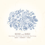 Card with bird  and roses. Stock Images