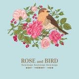 Card with bird, roses. Stock Photo