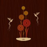 Card with birds and flowers. Card with flowers and two birds. Decorative vector illustration Royalty Free Stock Images