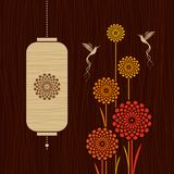 Card with birds, flowers and lantern Stock Image