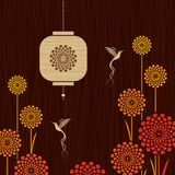 Card with birds, flowers and lantern Stock Photo