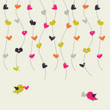Card with birds and hearts Royalty Free Stock Image