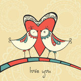 Card with birds in love Royalty Free Stock Image