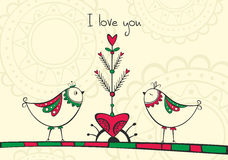 Card with birds and love Tree Royalty Free Stock Image