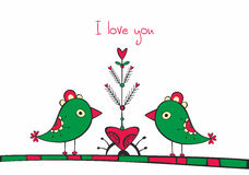 Card with birds and love Tree on white background Stock Photo
