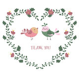 Card with birds. Simple thank you card with birds. Vector floral frames in shape of heart Stock Photo