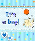 Card for the birth of a child_boy Stock Photo