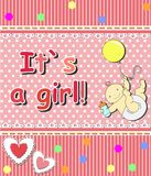 Card for the birth of a child_girl Stock Images