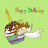 Card for birthday with Angel and cupcake Royalty Free Stock Images