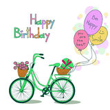 Card for Birthday with bicycle and balloons Stock Images