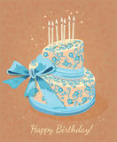Card with birthday cake and numbers. Vector. Pink. Royalty Free Stock Image