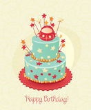 Card with birthday cake and numbers. Vector. Pink. Royalty Free Stock Photography