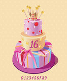 Card with birthday cake and numbers. Vector. Pink. Royalty Free Stock Images