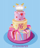 Card with birthday cake and numbers. Vector. Pink. Stock Photography