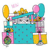 Card with a birthday cat with presents sitting inside a box. Illustration Royalty Free Stock Photos