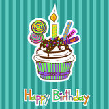 Card for birthday with cupcake Royalty Free Stock Photos