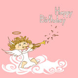 Card for birthday with cupid Royalty Free Stock Photo