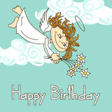 Card for birthday with cupid Royalty Free Stock Images