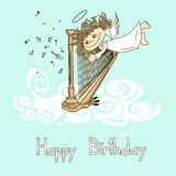 Card for birthday with cupid playing the harp Royalty Free Stock Photography