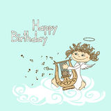 Card for birthday with cupid playing the lyre Stock Photos