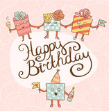 Card for birthday with gifts. Happy birthday card Royalty Free Stock Photo