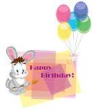Card on birthday with a hare. Royalty Free Stock Photos
