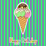 Card for birthday with ice cream Stock Image