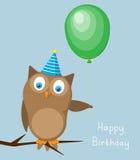 Card on birthday with an owl a balloon Royalty Free Stock Photos