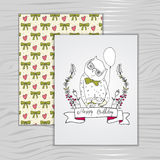 Card birthday with an owl, doodle style Royalty Free Stock Images