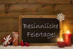 Card, Blackboard, Snow, Besinnliche Feiertage Mean Christmas Royalty Free Stock Photo