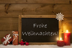Card, Blackboard, Snow, Frohe Weihnachten Mean Merry Christmas Stock Images