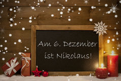 Card, Blackboard, Snowflakes, Nikolaustag Mean Nicholas Day Royalty Free Stock Images