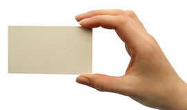 Card blank. In a hand Stock Images