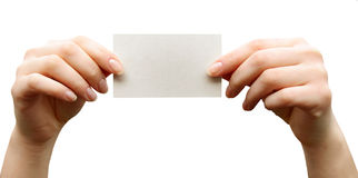 Card blank. In a hand Stock Photo