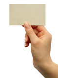 Card blank. In a hand Royalty Free Stock Photo