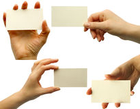 Card blank. In a hand Royalty Free Stock Image