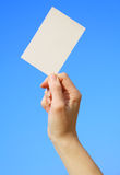 Card blank. A card blank in a hand Stock Photo