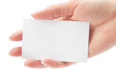 Card blank in a hand Royalty Free Stock Image