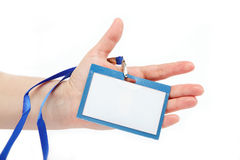 Card blank in a hand isolated. Royalty Free Stock Photo