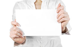 A card blank in the hands Royalty Free Stock Photos