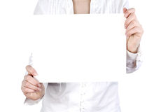 A card blank in the hands Royalty Free Stock Image