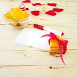 Card with blank Letter and Cookies in the Shape of Heart Royalty Free Stock Photos
