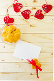 Card with blank Letter and Cookies in the Shape of Heart Stock Photo