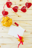 Card with blank Letter and Cookies in the Shape of Heart Royalty Free Stock Image