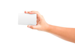 Card blanks in a hand. On white background Stock Photography