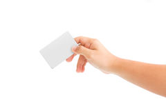 Card blanks in a hand. On white background Royalty Free Stock Photo