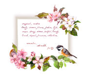 Card with blossom flowers, cute bird, hand written text. Watercolor frame for fashion design Royalty Free Stock Images
