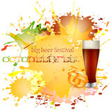 Card with blots of spilled beer for greetings with Oktoberfest Royalty Free Stock Image