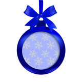 Card. Blue ball with a bow and place for an inscription on a white background. Hanging on a ribbon. Christmas tree toy Royalty Free Stock Images